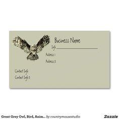 Owl symbol white business card pinterest business cards symbols great grey owl bird animal nature business card colourmoves