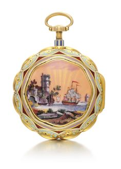Edward Prior, London A FINE 18K YELLOW GOLD AND ENAMEL PAIR CASED QUARTER REPEATING VERGE WATCH MADE FOR THE TURKISH MARKET NO 28925 CIRCA 1814
