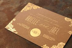 Gold & Kraft {Gold Foil} {Designed by Little Peach Co.} Printing: Gold Foil on Kraft Buffalo Board 283gsm. How beautiful is that gold foil finish on Kraft? Such a unique look for Arielle & Joel's celebration.