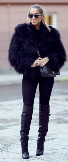Black fur jacket, leggings, black thigh high boots