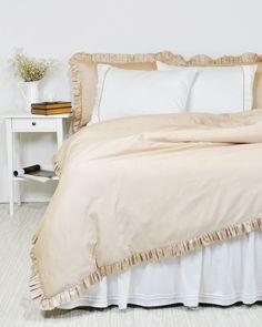 Ruffle Duvet Cover in Twin Twin XL Full Queen King Size - Sand Beige, Latte Cotton Sateen - Custom, Luxury, Elegant Shabby Chic Bedding, by RoseHomeDecor on Etsy