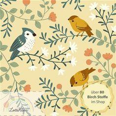 Birch Fabrics Interlock Bio-Jersey - Birds and Branches aus der Kollektion Acorn Trail