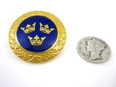 Vintage Swedish Three Crowns Gold Blue Enameled Brooch Pin #Unbranded