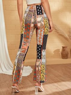 Paisley Print Contrast Panel Flare Pants Check out this Paisley Print Contrast Panel Flare Pants on Shein and explore more to meet your fashion needs! Boho Fashion Fall, Pop Fashion, Fashion News, Tweed Pants, Lace Pants, Tribal Pants, Type Of Pants, Pants For Women, Clothes For Women