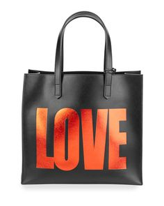 V2ZC9 Givenchy Leather Love Tote Bag w/ Pouch, Black/Red