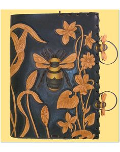 Bumblebee hand carved leather book cover - Gorgeous!