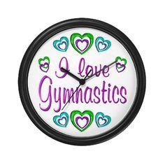 I Love Gymnastics Wall Clock by FunDesigns - CafePress
