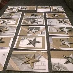 Joulukorttitehtaalta hyvää iltaa! Materiaaliksi pääsi vanha kalenteri. #joulukortti #origami #tähti #kierrätys #DIY #star #christmas #upcycle