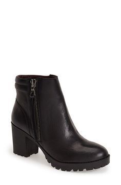 Steve Madden 'Norwayy' Bootie (Women) available at Short Black Boots, Black Ankle Boots, High Heel Boots, Black Booties, Ankle Booties, Black Platform Boots, Leather Booties, Leather Jacket, Crazy Shoes