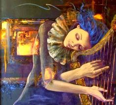 Fantasy Painting - Nocturne by Dorina Costras Good Night Friends, Fantasy Paintings, Fantasy Art, Painting Of Girl, Canvas Prints, Art Prints, Nocturne, Art Pages, Art Music