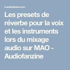 Les presets de réverbe pour la voix et les instruments lors du mixage audio sur MAO - Audiofanzine