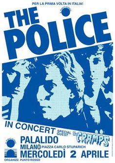 POLICE and CRAMPS - 2 April 1980 Palalido Torino Italy - concert live show poster artistic - manifesto artistico concerto. 1000 via Etsy. #music