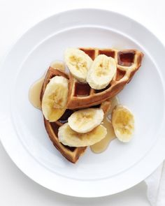 Peanut Butter Waffles  Peanut butter lovers rejoice: The good stuff is mixed right into the waffle batter for a great start to the day. Top with bananas, strawberry jam, chocolate ice cream -- or all three!