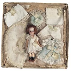 Miniature Bisque Doll in Presentation Box for the French Market