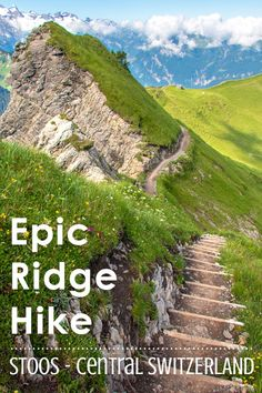 Ride the steepest funicular in the world up to this gorgeous ridge hike in Central Switzerland. Not too long or difficult but a bit dangerous with steep drop-offs along the trail. Suitable for older children with hiking experience. Hiking Europe, Hiking Tips, Camping And Hiking, Backpacking, Alpine Village, Camping Spots, Travel Posters, Switzerland, Adventure Travel