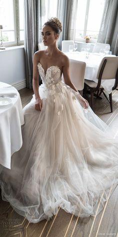 elihav sasson spring 2018 bridal sleeveless illusion jewel sweetheart embellished ruched bodice tulle ball gown wedding dress (vj 007) mv sweep train romantic princess