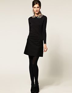 sweater with embellished collar. black.