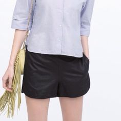 NWT Zara black leatherette shorts NWT Zara black leatherette shorts with back zipper. Scalloped on the side.                ❌ no trades ❌.                        ✅ reasonable offers accepted ✅ Zara Shorts
