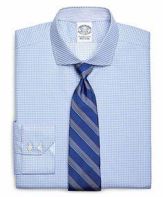 Men's Egyptian Cotton Slim Fit Spread Collar Herringbone Gingham Luxury Dress Shirt