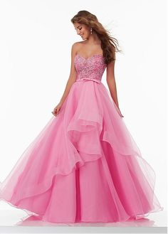Buy discount Alluring Organza Sweetheart Neckline Ball Gown Prom Dresses With Beadings at Dressilyme.com