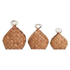 House Doctor - Set of 3 Woven Pine Conical Baskets - Wood - Products - Aufbewahrung House Doctor, Home Decor Baskets, Basket Decoration, Ikea Hacks, Basket Weaving, Hand Weaving, Woven Baskets, Denmark House, Tobacco Basket Decor