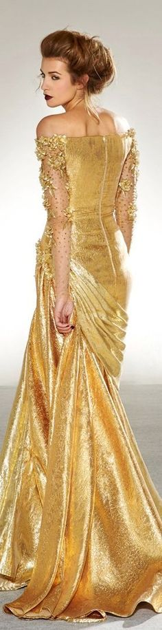 Georges Chakra Couture F/W Beauty And Fashion, Gold Fashion, High Fashion, Fashion Tips, Georges Chakra, Gold Dress, Dress Up, Gold Gown, White Dress