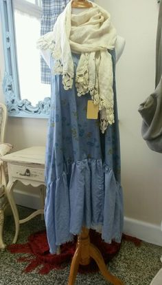 Shabby French Farm Chic Blue Cottage Floral Romantic Lagenlook Tunic Dress s M | eBay