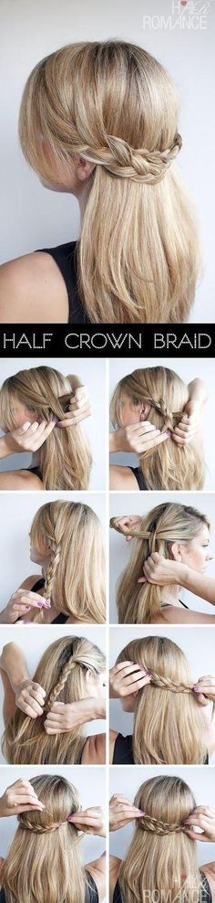Super Easy DIY Braided Hairstyles for Wedding Tutorials Hair Romance Half crown braid half up half d No Heat Hairstyles, Diy Hairstyles, Pretty Hairstyles, Wedding Hairstyles, Updo Hairstyle, Latest Hairstyles, Ponytail Hairstyles, Hairstyle Ideas, Simple Hairstyles