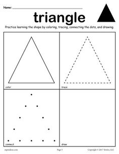 FREE printable triangle worksheet. This triangle coloring page and tracing worksheet is perfect for both toddlers and preschoolers. Includes a triangle plus 11 other shapes worksheets. Get all twelve shape coloring pages and tracing worksheets here --> http://www.mpmschoolsupplies.com/ideas/7557/12-free-shapes-worksheets-color-trace-connect-draw/
