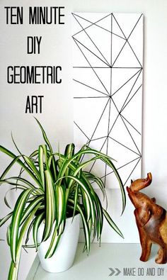 The simplest diy geometric art....or how to fool your toddler into letting you get something done! www.makedoanddiy.com