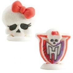2 Figurines Monster High en sucre pour décorer le gâteau d'une fan des Monster High
