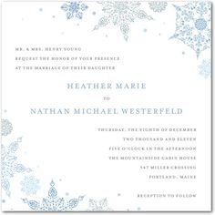 snow wedding invites...has matching response cards, enclosure cards, place cards, thank you's, etc.