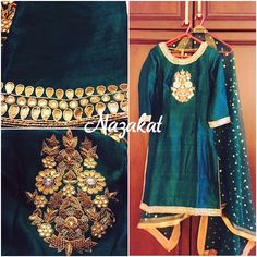 A forest green raw silk straight shirt done with gotta patti detailing teamed up with a salwar and a sequin dotted dupatta! We take custom orders as well and if you have something in mind let us help you bring it to reality  Can be used to create any of your pieces  This piece can be customised to your liking Colour can be customised DM or whatsapp for details Shipping worldwide For more: www.facebook.com/nazakatjal #green #gold #golden #punjabibride #sikhbride #pink #clientdiaries #bling...