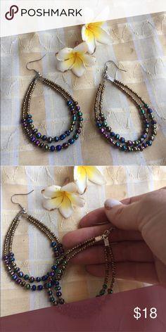 Gold tear hoop bead earrings New for winter resort 2016. Gorgeous seed bead tear shaped hoop earrings with unique metallic seed beads. Gorgeous classic earrings handmade Jewelry Earrings