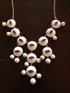 Arkansas Razorback Bubble Necklace - WHITE on Etsy, $35.00