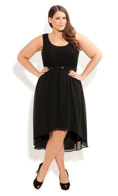 City Chic - LACE SPLICE DRESS WITH BELT - Women's plus size fashion