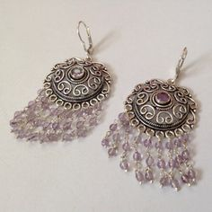 Amethyst and Sterling Chandelier Earrings by BlkBttrflyDsgns