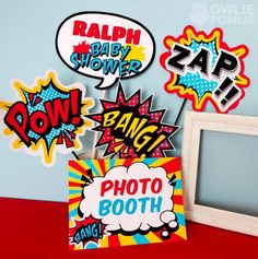 Printable photobooth props for a SUPERHERO themed baby shower via Kara's Party Ideas @HUGGIES Baby Shower Planner Baby Shower Planner