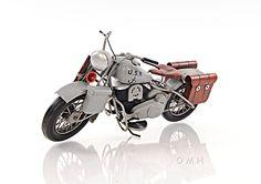 "CaptJimsCargo - 1939 Harley Davidson Military Model U Grey Motorcycle Metal Model 12"" USN Navy, (http://www.captjimscargo.com/model-tether-cars-automobiles/1939-harley-davidson-military-model-u-grey-motorcycle-metal-model-12-usn-navy/)"