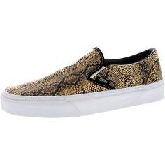 Vans - Women's Leather Snake Classic Slip On Sneakers - Gold