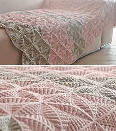 Crochet Triangles Bed Cover Anyone Can Make | CrochetBeja Crochet Triangle Pattern, Crochet Bedspread Pattern, Crochet Square Patterns, Crochet Blanket Patterns, Crochet Stitches, Modern Crochet, Crochet Home, Crochet Crafts, Crochet Yarn
