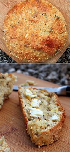 whole grain basil bread.adopt to make whole grain basil olive oil bread? Think Food, I Love Food, Good Food, Yummy Food, Healthy Food, Cookies, Sweet Bread, Cooking Recipes, Bread Recipes