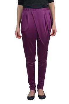 """Roberto Cavalli Women's Purple Lose Style Skinny Leg Pants US 6 IT 42. Material: 65% Spandex 35% Polyamide. Made in Italy. Measured Waist: 20"""" Rise in inches: 13"""". Inseam: 27"""" Leg opening: 5""""."""