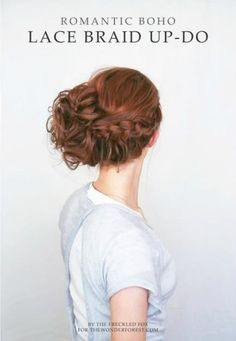 This messy updo combines a single lace braid and a messy bun. #Braid #Updo #Hair