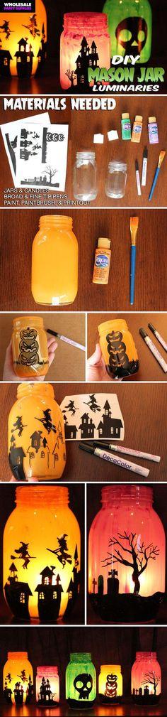 Create your own Halloween luminaries with mason jars!