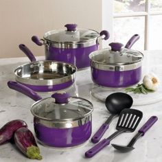 BrylaneHome 10-Pc Cookware Set (PURPLE, 0): Amazon.com: Home & Kitchen $59.99 I like these better than the Paula Deen ones