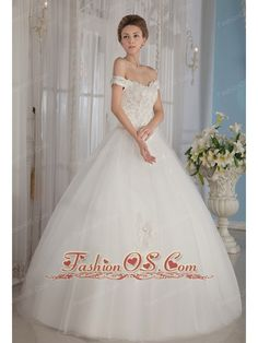 Fashionable Ball Gown Off The Shoulder Floor-length Tulle Beading Wedding Dress  http://www.fashionos.com/  http://www.facebook.com/quinceaneradress.fashionos.us  It is a pretty lace bodice with two gorgeous flower beading straps. The full floor-length skirt creates a beautiful shape to complete the dress. The dress sways beautifully across the floor when you move, as if you're floating on air. A bit retro and a lot gorgeous!