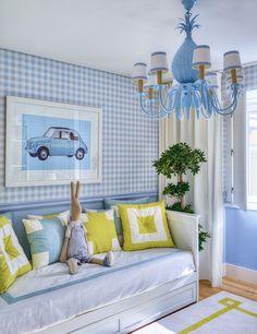 Little Boy Bedroom Design Inspiration. Love the blue gingham wallpaper and vintage artwork! Bedroom Light Fixtures, Bedroom Lighting, Blue Rooms, Blue Walls, Baby Boy Rooms, Baby Room, Kids Rooms, Child Room, Kid Spaces