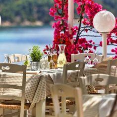 """Indulge in fine Greek and Mediterranean cuisine"" Atrium Hotel Skiathos, Fine Dining, Natural Stones, Greece, Destination Wedding, Table Decorations, Design, Home Decor, Kitchens"