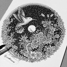Stunning Optical Illusion Drawings By Colombian Artist Viso Thkakvei Ant Drawing, Doodle Art Drawing, Zentangle Drawings, Mandala Drawing, Art Drawings Sketches, Zentangle Patterns, Zentangles, Illusion Drawings, Mandala Art Lesson